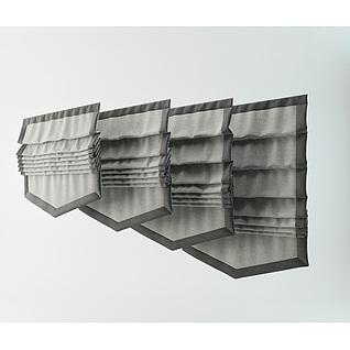 日式灰色旗帘3d模型