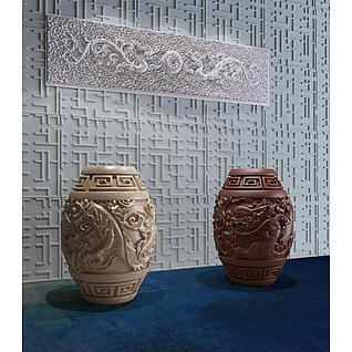 中式宫廷龙纹凳3d模型