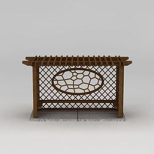 室外花架座椅3d模型
