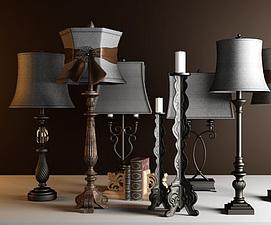 复古美式台灯模型
