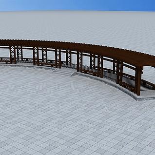 户外木质花架3d模型