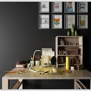 书桌墙壁挂画组合3d模型