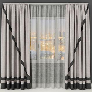 简约大方窗帘3d模型