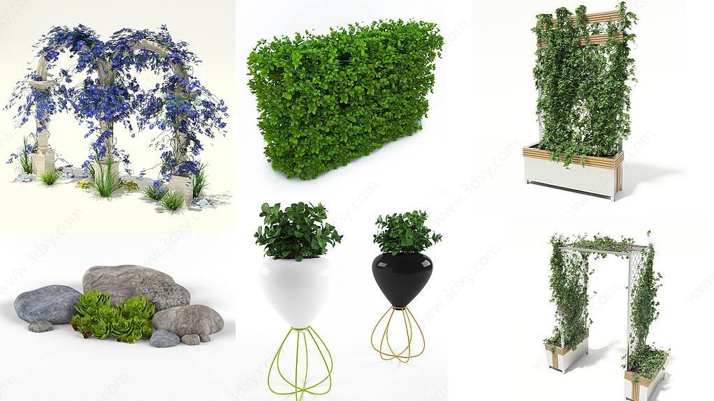 室外植物花架石头饰品集合
