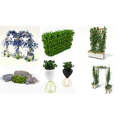 室外植物花架石头饰品集合3D模型3d模型