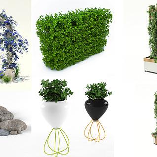 室外植物花架石头饰品集合3d模型