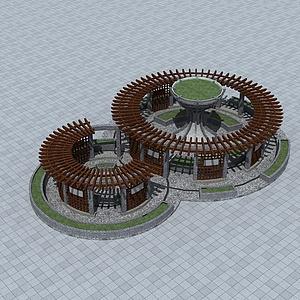 公园圆形花架模型3d模型