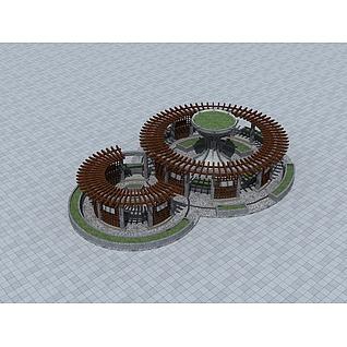 公园圆形花架3d模型