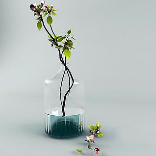 现代海棠树枝花瓶装饰3d模型