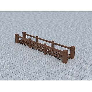 木质吊桥3d模型