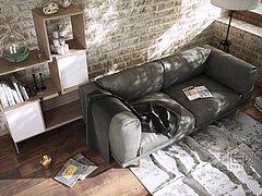 现代灰色布艺双人沙发模型3d模型