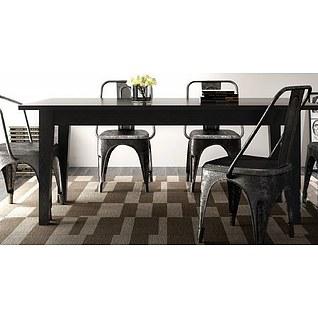 美式复古铁艺餐桌椅3d模型3d模型