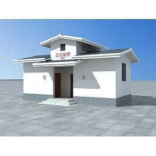 仿古公共厕所3d模型3d模型