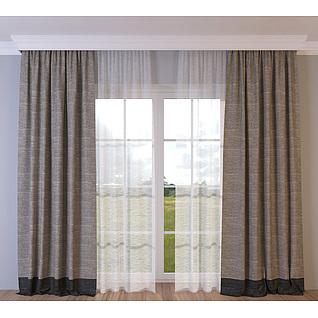 棉麻窗帘3d模型