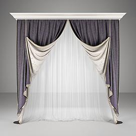 卧室遮阳窗帘模型