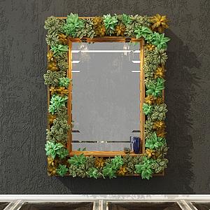 植物装饰边框镜子模型