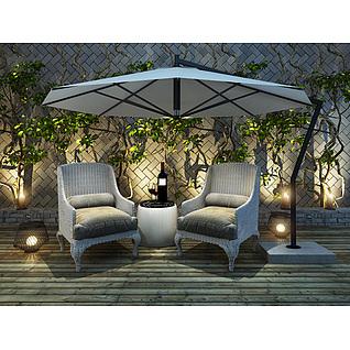 庭院休闲椅藤蔓墙3d模型