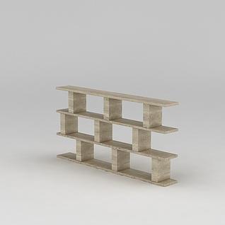 原木书架置物架3d模型3d模型