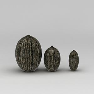 3d花紋陶藝花瓶模型