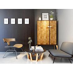 会客休闲椅子茶几边柜组合3D模型3d模型