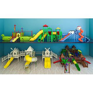 儿童乐园滑梯组合3d模型3d模型
