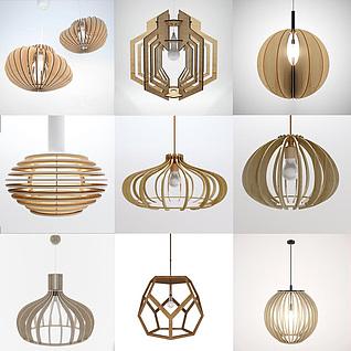 田园风艺术木吊灯3d模型3d模型