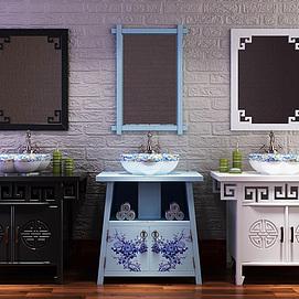 新中式浴室柜洗手盆模型