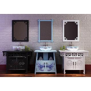 新中式浴室柜洗手盆3d模型