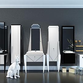 现代时尚浴室洗手台柜组合模型
