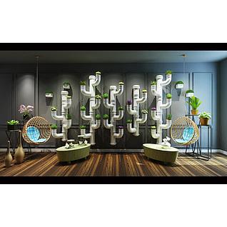 现代水管造型植物花架3d模型3d模型