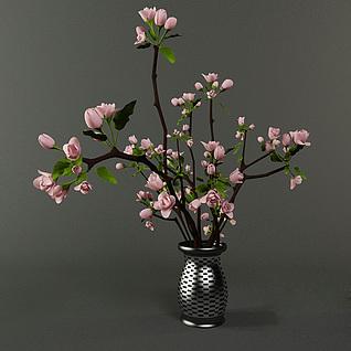 海棠花盆景3d模型
