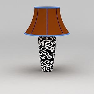 3d花紋陶瓷臺燈模型