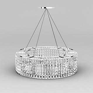 客厅圆形水晶吊灯3d模型3d模型
