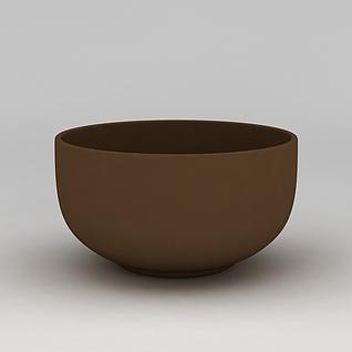 咖啡色碗3d模型