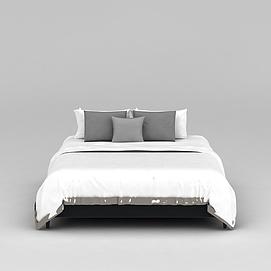 室内双人床3d模型