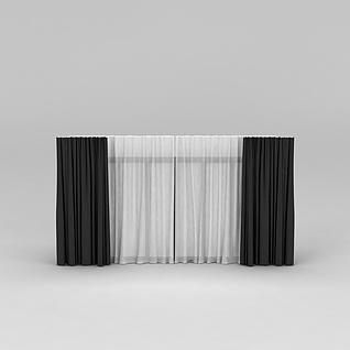 黑白双层窗帘3d模型