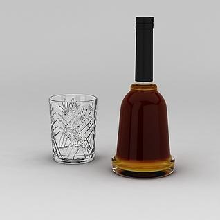 洋酒和酒杯3d模型