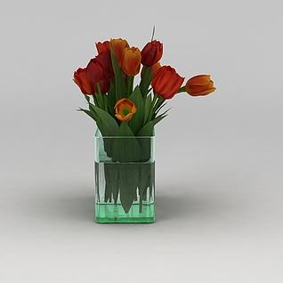 郁金香鲜花花瓶3d模型