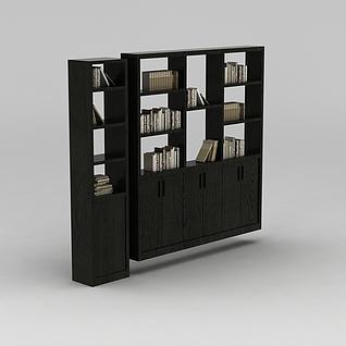 中式书房实木书架3d模型3d模型