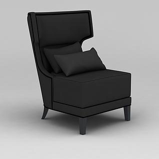 黑色布艺休闲单人沙发3d模型3d模型