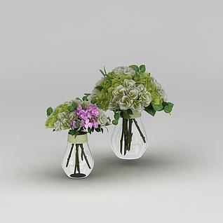 鲜花花瓶装饰3d模型