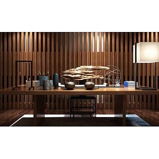 现代中式书法桌椅3d模型3d模型