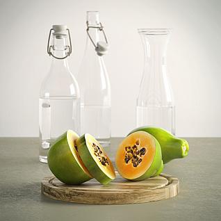 木瓜和玻璃瓶3d模型