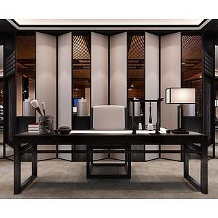 现代中式书桌3d模型3d模型