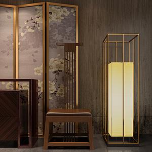 現代中式屏風太師椅組合模型3d模型