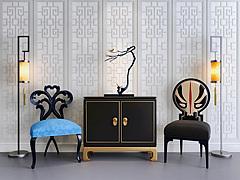 创意边柜脸谱椅子组合模型3d模型