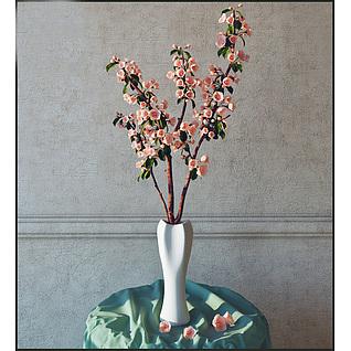 海棠花枝3d模型