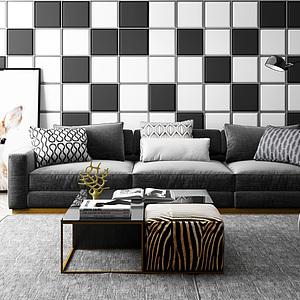 休闲沙发茶几黑白格子背景墙组合模型