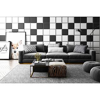 休闲沙发茶几黑白格子背景墙组合3d模型