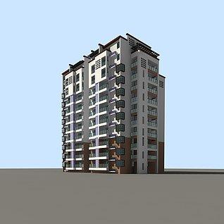 现代公寓楼3d模型